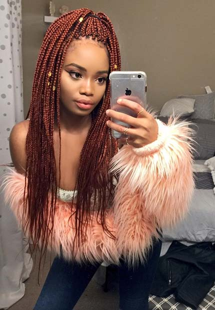 Stylish Red Box Braids in a Ponytail