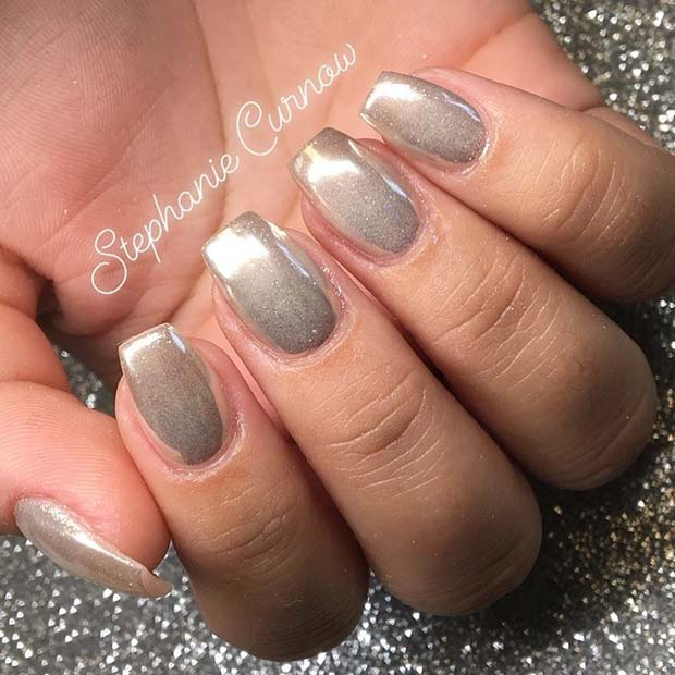 Simple Chrome Nails