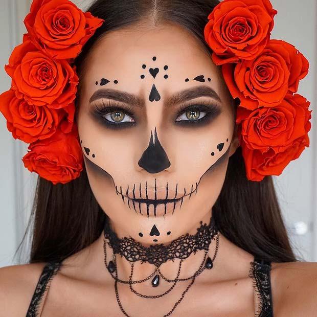 Pretty Sugar Skull Makeup Idea for Halloween