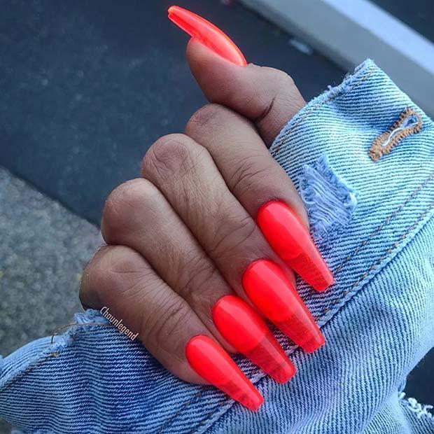 Summer Orange Jelly Nails