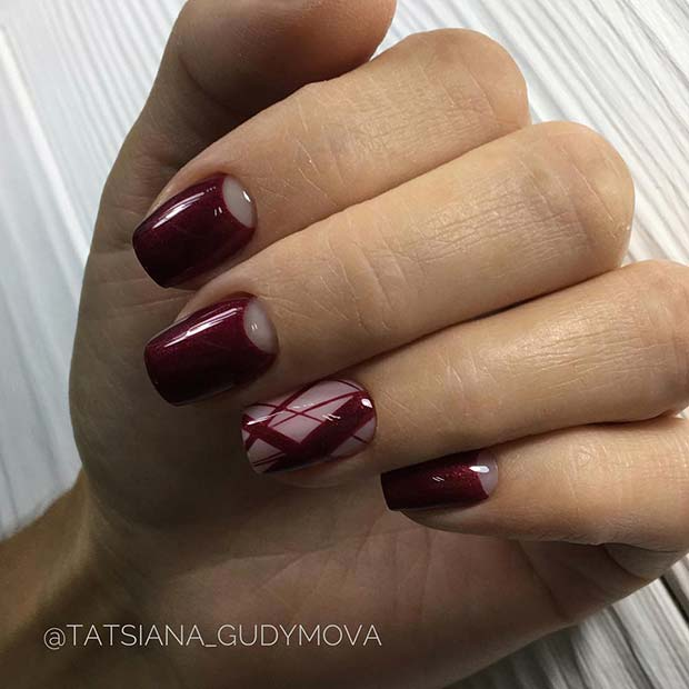 Burgundy Nail Design