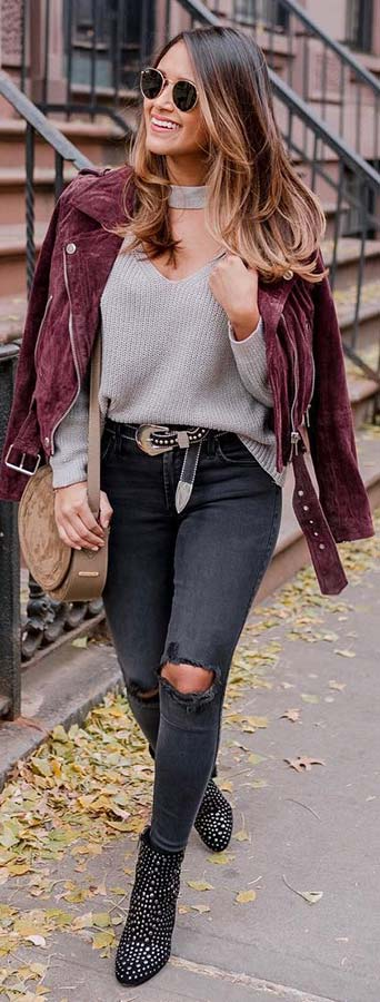 Burgundy Jacket and Black Jeans Outfit Idea