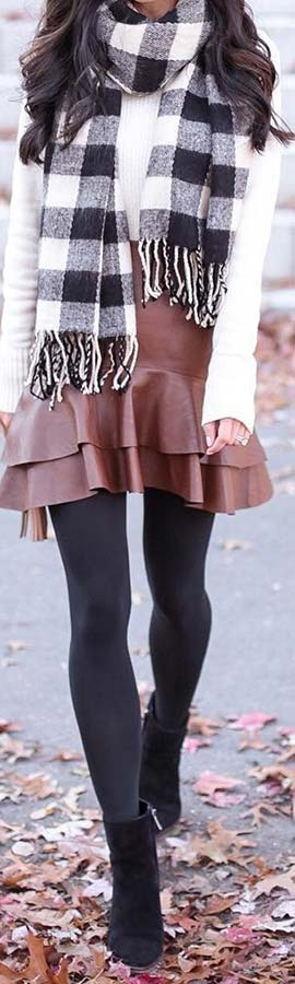 Trendy Leather Skirt Outfit Idea for Fall and Winter