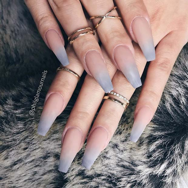 Trendy Ombre Coffin Nails