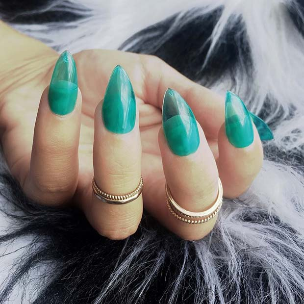 Trendy Turquoise Jelly Nails