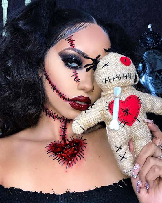 Voodoo Doll Halloween Makeup Idea