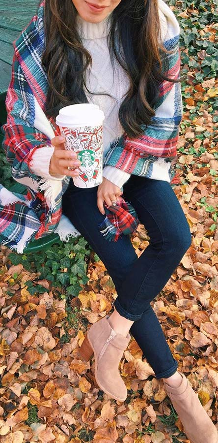 Plaid Blanket Scarf Outfit Idea