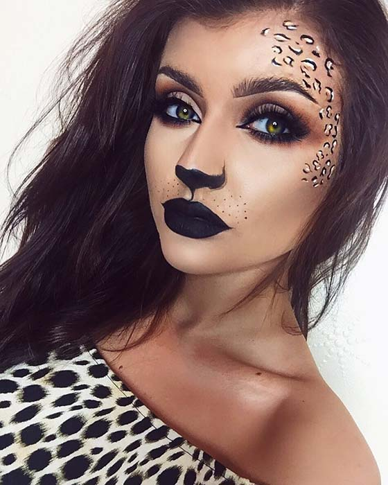 Pretty Leopard Makeup Look for Halloween