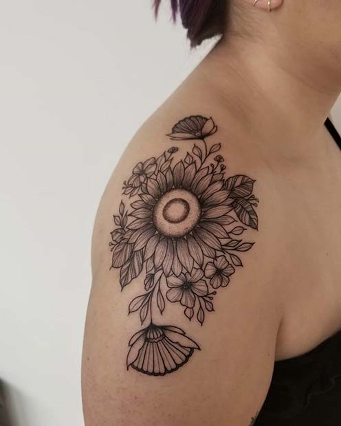 Big Sunflower Shoulder Tattoo Idea