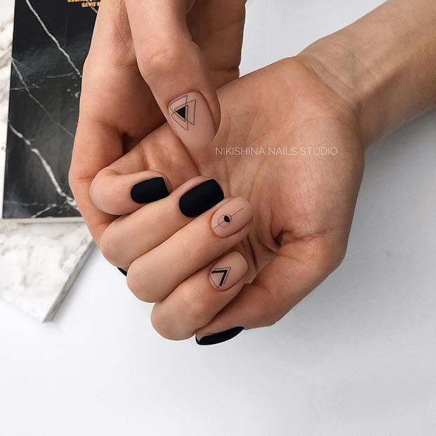 Matte Black Nails with Geometric Accent Nails