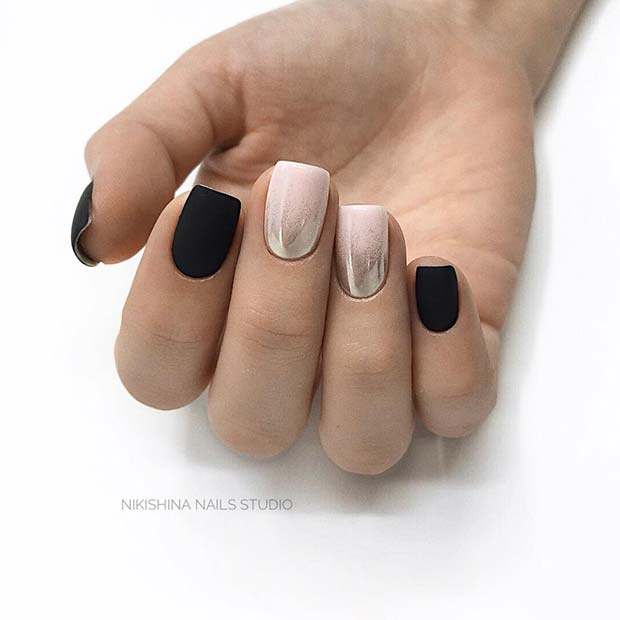 Matte Black Nails with Shimmer Accent Nails