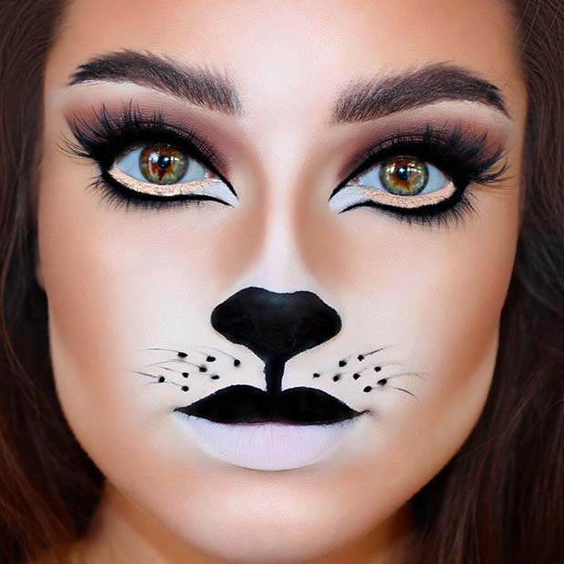 Cat Face Makeup Idea for Halloween