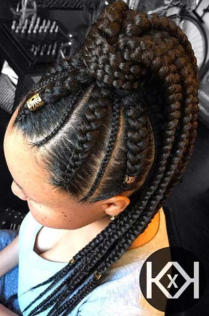 Feed In Braids Ponytail