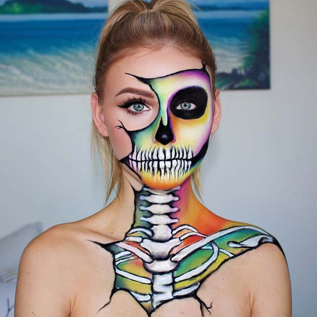 Colorful Skeleton Makeup for Halloween