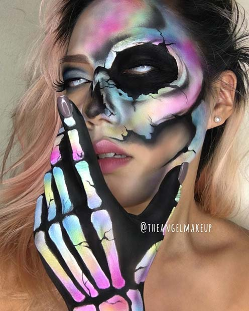 Colorful Skull Makeup Idea for Halloween