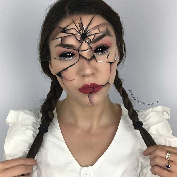 Broken Doll Makeup Idea For