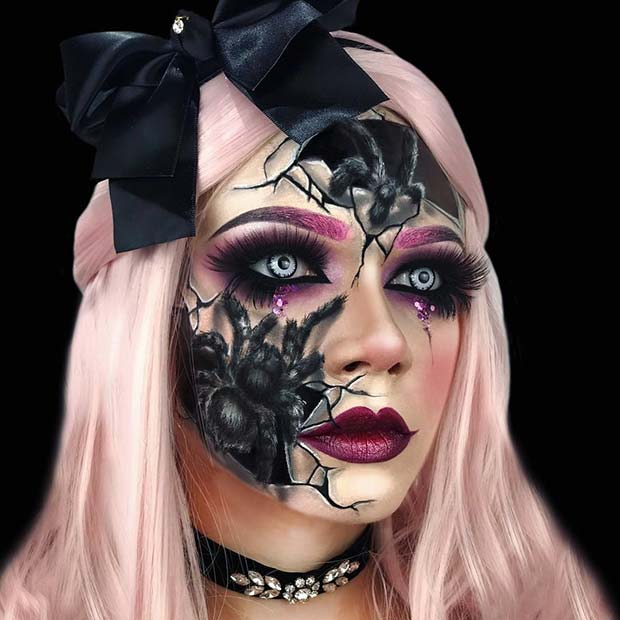 Scary Cracked Doll Makeup with Spiders