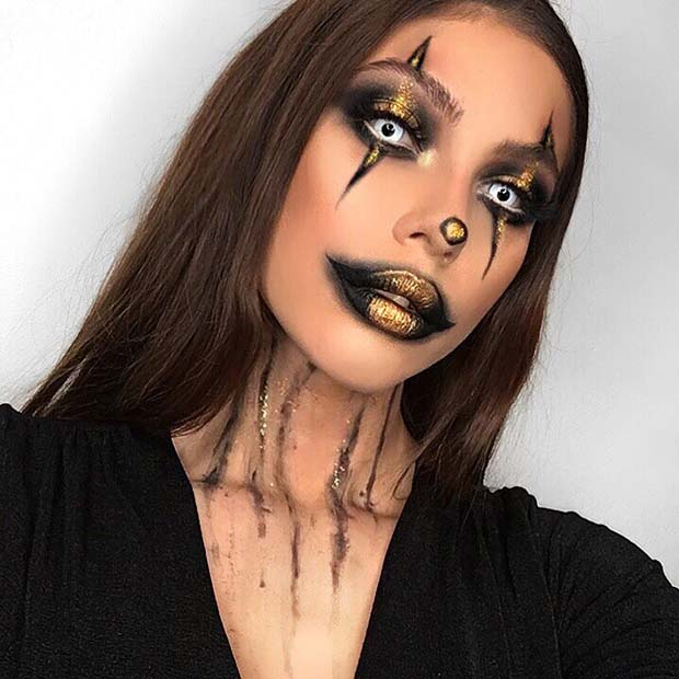 Creepy Clown Makeup Idea for Halloween