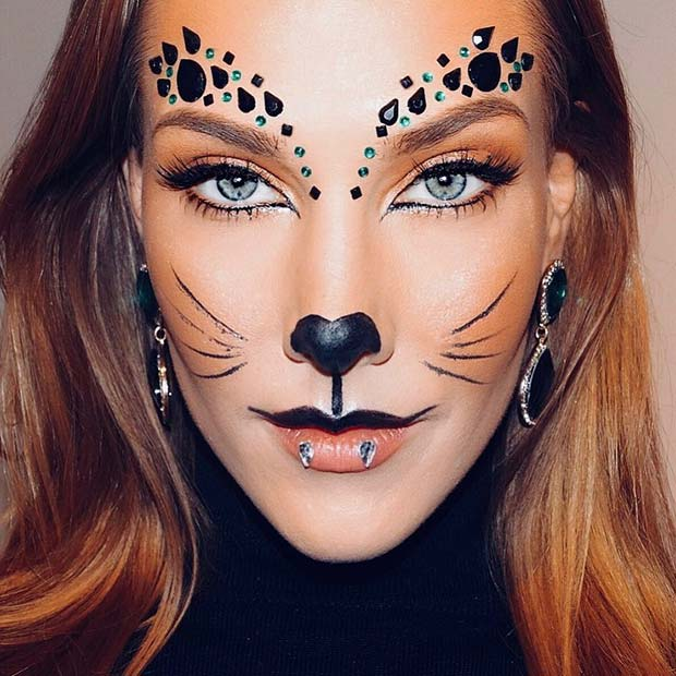 Halloween Cat Makeup with Rhinestones
