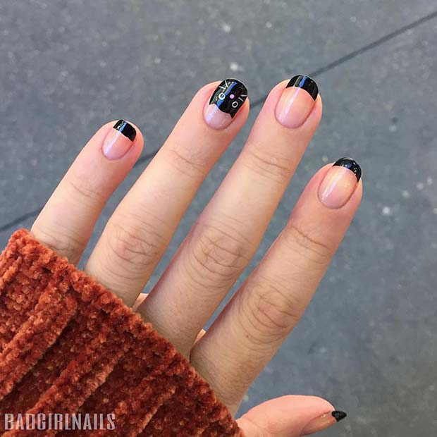 Cute Cat Nails for Halloween