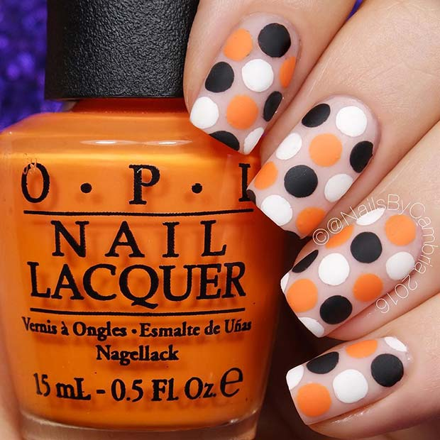 Simple Polka Dot Halloween Nails