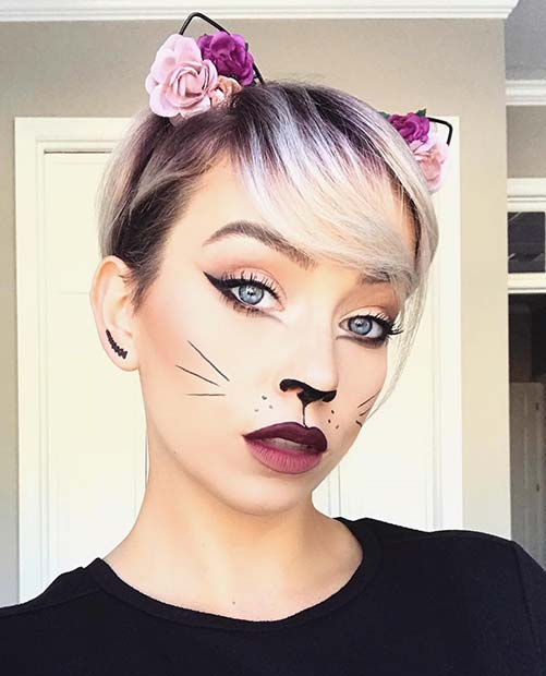 Cute and Simple Cat Makeup for Halloween