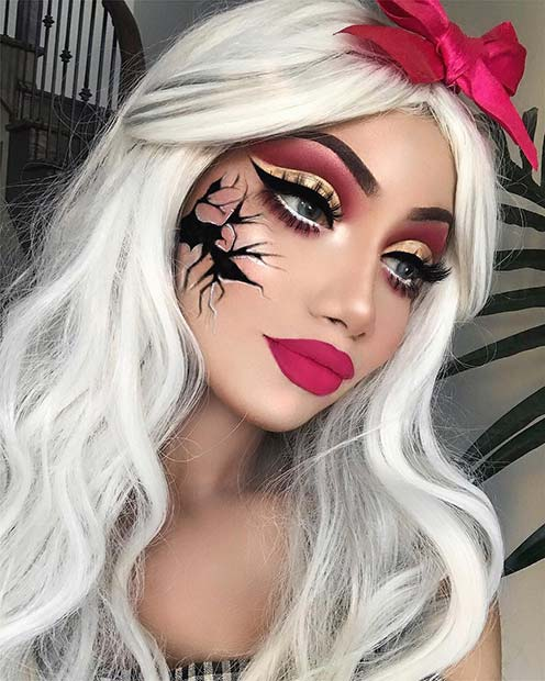 Cracked Doll Halloween Makeup