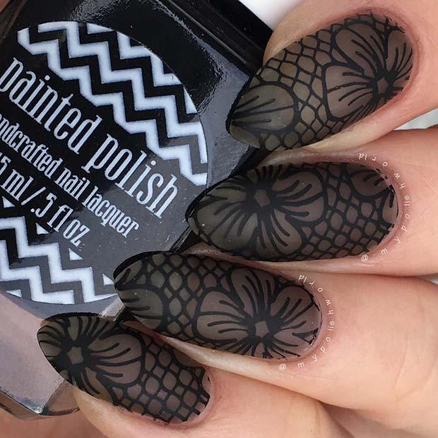 Matte Black Lace Nails