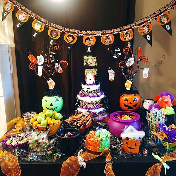 Halloween Baby Shower Buffet Table Idea