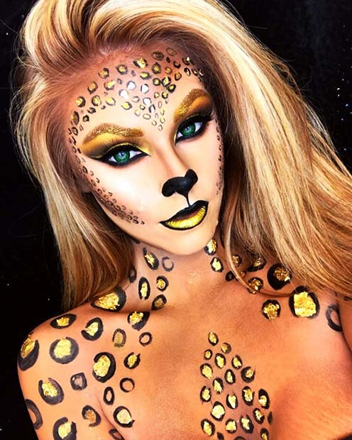 Glam Leopard Halloween Makeup