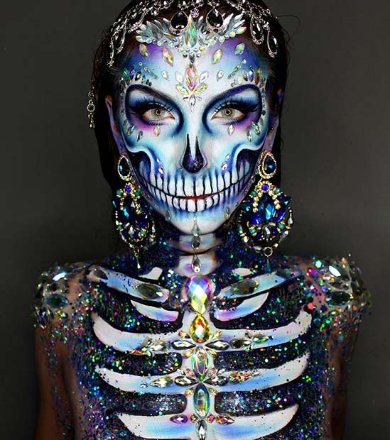 Amazing Rhinestone Halloween Skeleton Makeup
