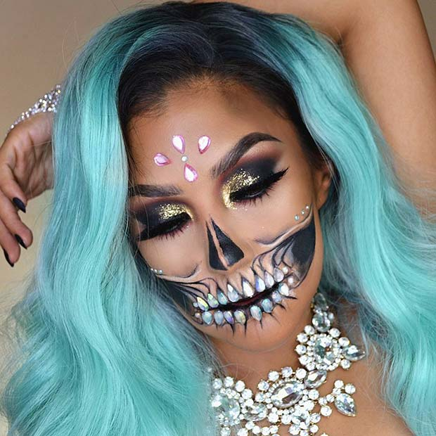 Glam and Glitter Skeleton Makeup for Halloween