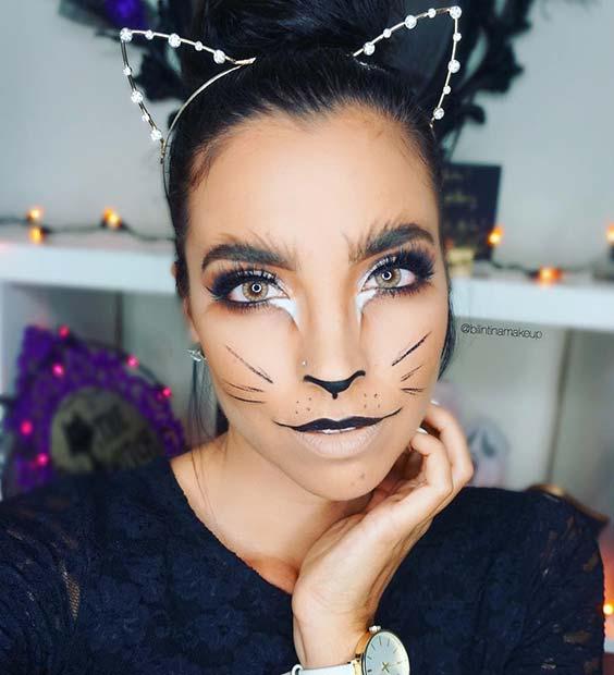 Glamorous Kitten Halloween Makeup