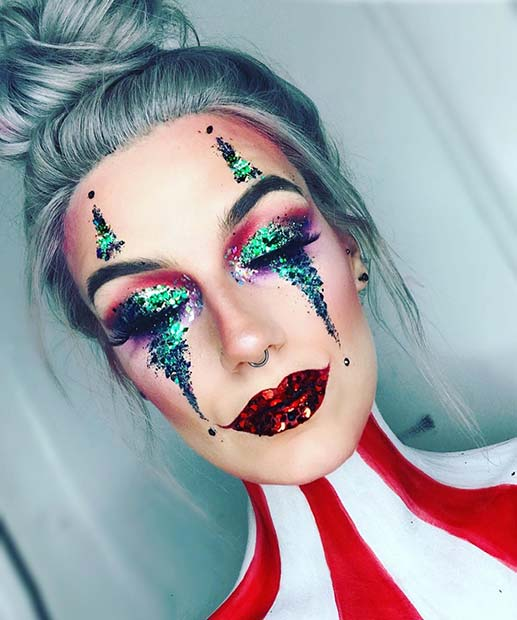 Glitter Clown Unique Halloween Makeup