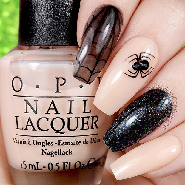Glitter and Spider Nails for Halloween