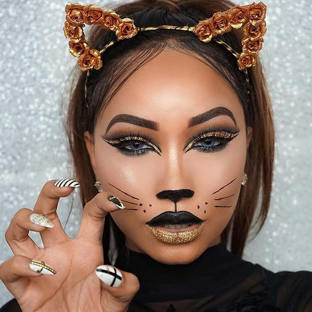 Gold Cat Makeup for Halloween