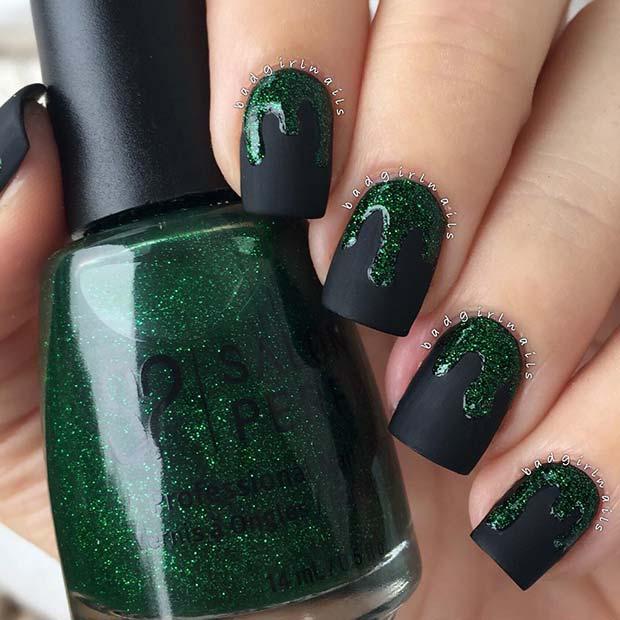 Green Glitter Drip Nails for Halloween