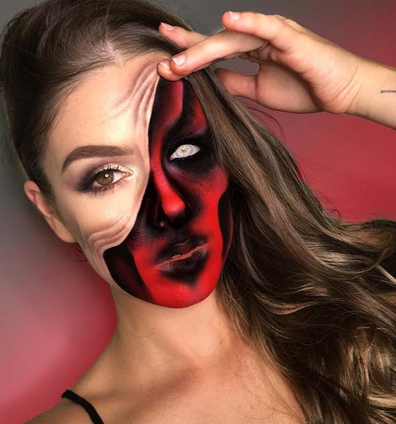 Demon Pulled Up Skin Halloween Makeup Illusion