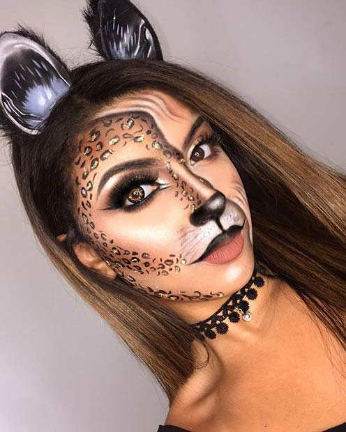 Half Feline Cat Makeup for Halloween