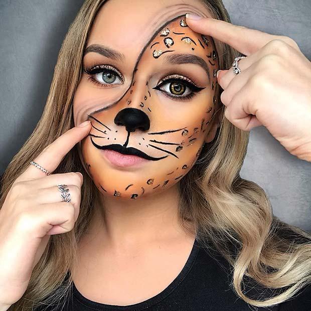 half leopard halloween makeup idea