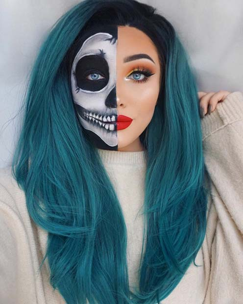 Half Skull Makeup Costume for Halloween