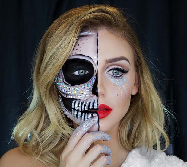 Half Skull Halloween Makeup with Glitter and Rhinestones