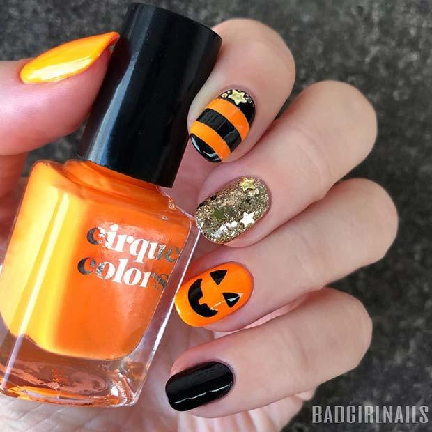 Cute, Halloween Pumpkin Nails