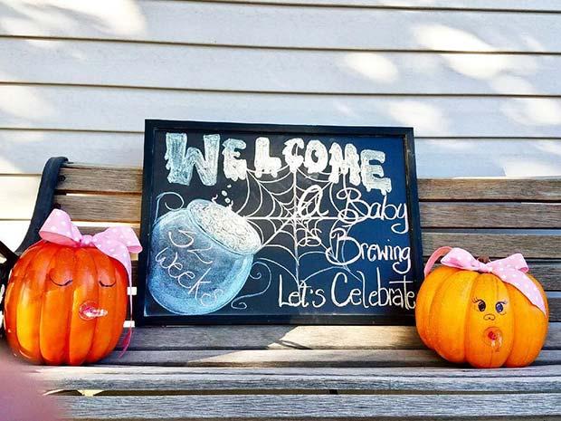 Halloween Baby Shower Welcome Sign