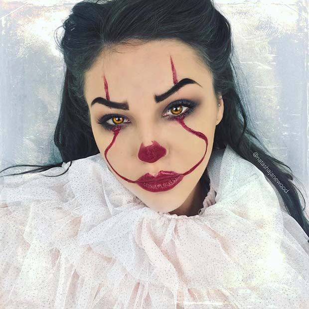Easy IT Clown Makeup Idea