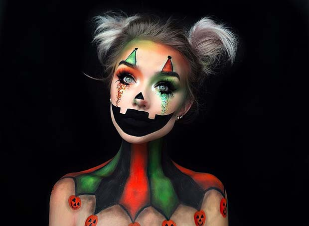 Illusion Pumpkin Clown Halloween Makeup