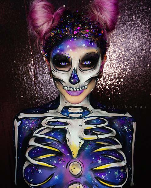 Intergalactic Skeleton Makeup for Halloween