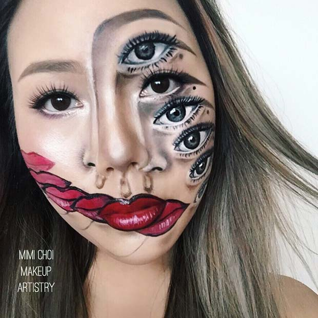 Eyes and Lips Makeup Illusion Idea