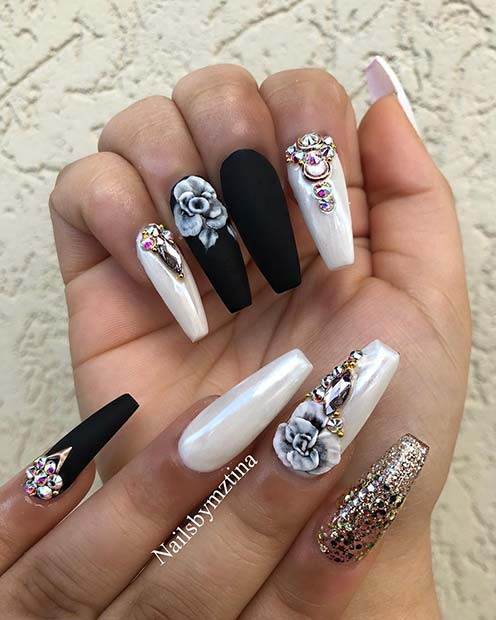 Matte Black Coffin Nails with Flowers and Rhinestones