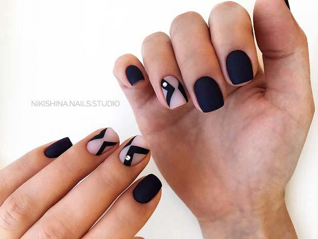 Simple Matte Black Nails